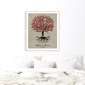 Minimalist Personalized Wedding Engagement Gift Keepsake Colorful Tree Roots Faux Texture Custom Art 1424