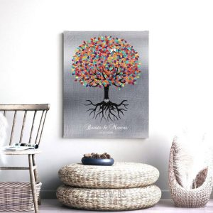 Colorful Tree Roots Minimalist Faux Shiny Tin Personalized Wedding Engagement Gift Keepsake Custom Art 1423