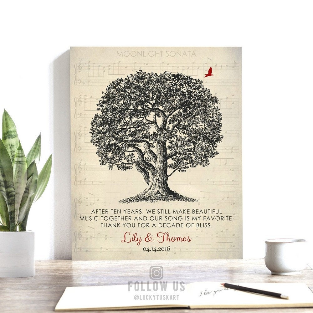 Our Song Is My Favorite Personalized Ten Year Anniversary Oak Tree Poem Gift For Husband Custom Art Print 1340 Lucky Tusk Art