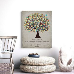All That We Are We Owe Our Loving Parents Gift For Mom and Dad Thank You Gift For Parents Custom Art Print #1323
