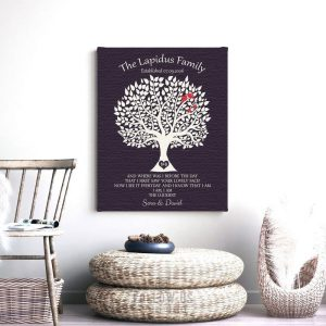 Minimalist Tree Gift For Gay Marriage Same Sex Couple Two Hearts One Love Masculine Design Custom Art Print #1359