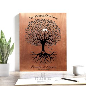 Personalized Couple Gift For Anniversary 1st or 2nd or 10th Green Cream Black Birds Family Tree Custom Art Print 1361