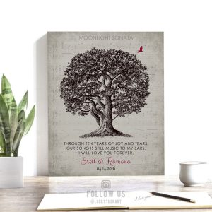 Music To My Ears Poem Sheet Music Oak Tree Personalized Gift For Anniversary Custom Art Print 10 Year #1331