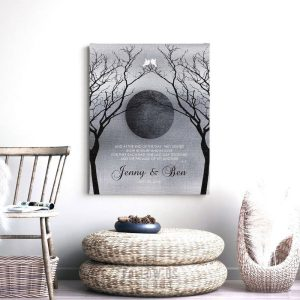 Personalized Love Poem Night Moon Bare Trees Faux Shiny Tin Background White Doves Custom Art Print 1344