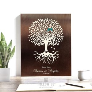 Wedding Engagement Gift Keepsake Gift For Fiance Couple Faux Dark Bronze Minimalist Tree Personalized Art 1426