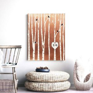 7 Year Anniversary Birch Trees Forest Wedding Gift Faux Copper Bare Trees 7th Seven Year Copper Personalized Custom Metal Art Print #1428