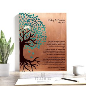 Seven Year Faux Copper Gift For 7th Anniversary Turquoise Leaves EE Cummings Carry Your Heart Custom Art Print 1407
