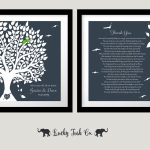 2 Piece Set | Personalized Gift | Thank You Poem | Gift For Parents | Wedding Day Gift | Gift For Mom And Dad Custom Art Print #LT-1161