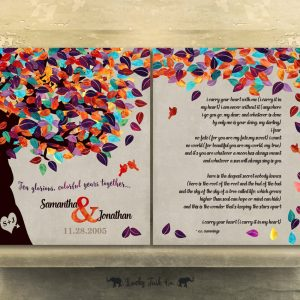 2 Piece Set | 10 Year Anniversary Gift | Personalized | Tin Anniversary | Colorful Tree | Love Poem | Wedding Vows Custom Art Print LT-1174