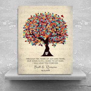 Personalized Anniversary Gift Sheet Music Our Song 10 Year Wedding Tree Poem Gift For Couple Custom Art Print #1335