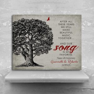 Our Song Is My Favorite Personalized Sheet Music Oak Tree Gift For 10 Year Anniversary Custom Art Print #1330
