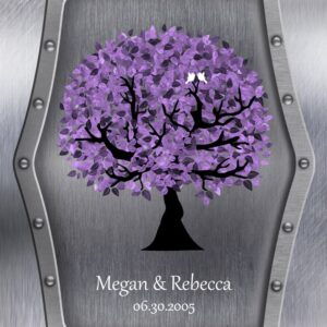 Personalized Gift For Same Sex Marriage Purple Tree on Silver Background Lesbian Marriage Gift on Wedding Day #1501