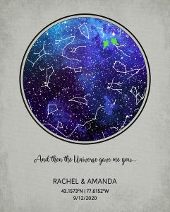 Custom Art Proof Night Sky Star Map for Rhonda B.