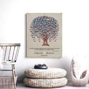 10 Year Tin Anniversary, Corinthians 13, 10th Anniversary, Weeping Willow Tree, Personalized – Metal, Paper or Canvas Custom Print WWT 1507