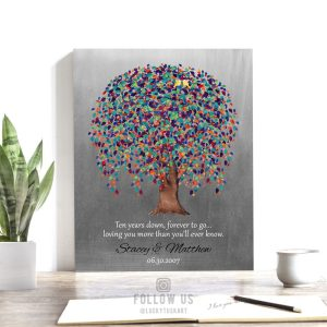 10 Year Anniversary Gift, Ten Years Down Forever to Go, Weeping Willow Tree, Personalized, Custom Art Print on Metal or Canvas WWT 1512