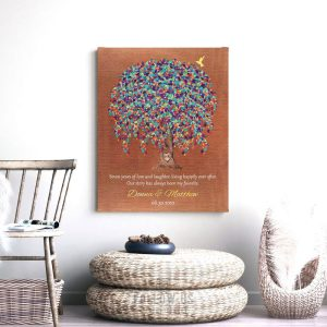 7 Year Anniversary, Faux Copper, Hummingbird, Personalized Gift, Weeping Willow Tree, Custom Art Print on Paper, Canvas or Metal WWT #1514
