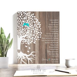 Personalized Corinthians Faux Wood White Tree 5th Year Anniversary Gift Love is Patient Custom Art Print Choose Paper Canvas Tin Sign #1725