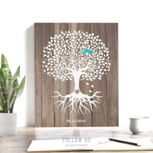 Personalized Anniversary Gift Faux Wood White Tree 5th Year Anniversary Gift 6th Year Custom Art Print Choose Paper Canvas Tin Sign #1726