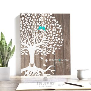 10 Year Personalized Anniversary Gift Faux Wood Rustic Wedding Tree 5th Year 6th Year Custom Art Print Choose Paper Canvas Tin Sign #1727