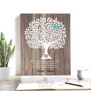 Mother of Groom Wedding Thank You Parents Gift From Bride Faux Wood Rustic Wedding Tree Custom Art Print Choose Paper Canvas Tin Sign #1728