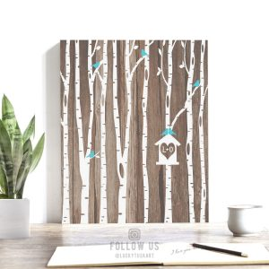 Personalized Initials White Birch Trees Faux Wood Turquoise Birdhouse Anniversary Wedding Gift Custom Art Print on Paper, Canvas or Tin 1729