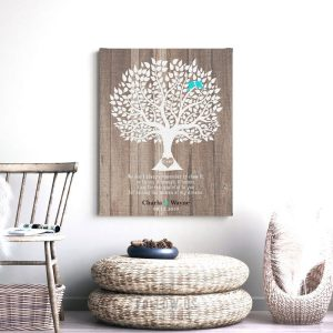 Mother of Bride Wedding Thank You Parents Gift From Groom Faux Wood Rustic Wedding Tree Custom Art Print Choose Paper Canvas Tin Sign #1732