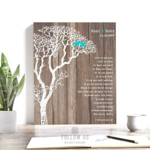 10 Year Anniversary Personalized Gift Faux Wood Rustic Wedding Tree 1 Corinthians 13, 5 Year Custom Art Print Choose Paper Canvas Metal 1733