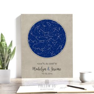 Custom Sky Print, 1 Year Anniversary Gift, Personalized, Star Map, Celestial, Constellation Art, Night Sky on Paper, Metal or Canvas #1736