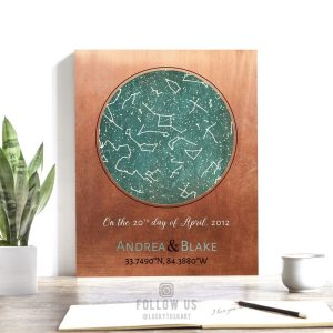 7 Year Anniversary Gift, Custom Sky Art, Copper Anniversary, 22 Year, Personalized, Star Stuff, Map, Celestial – Metal, Paper or Canvas 1737