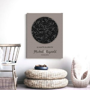 Anniversary Gift Idea, Gay Couple Gift, Personalized, Custom Star Map, Celestial Map, Night Sky Print, Wedding Gift, Metal Art, Canvas 1738