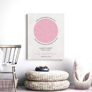 Baby Birth Gift, Birth Announcement, Personalized Gift, Baby Girl, Custom Star Map, Celestial Map, Night Sky Print, Pink Nursery Decor #1740