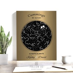 8 Year Anniversary Gift, Custom Star Map, Lovebirds, Brass Anniversary, 8th Anniversary, Personalized, Night Sky Print, Metal, Canvas 1743