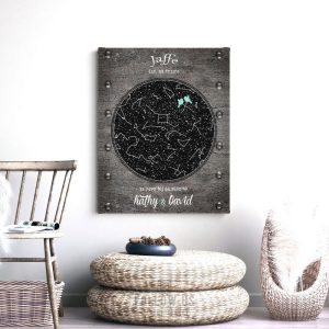 6 Year Anniversary Gift, Iron Anniversary, Lovebirds, Personalized, Custom Star Map, Celestial Map, Night Sky Print, Metal, Canvas 1744