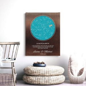 9 Year Anniversary Gift Idea, Bronze Color Background, Personalized, Custom Star Map, Celestial Map, Night Sky Print, Metal, Canvas 1745