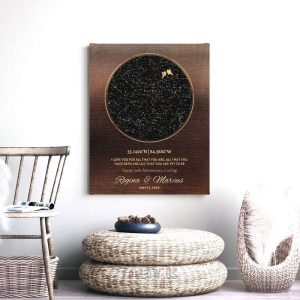 50 Year Anniversary Gift, Gold, Bronze, Golden Anniversary, Personalized for Mom Dad, Custom Star Map, Night Sky Print, Metal, Canvas 1746
