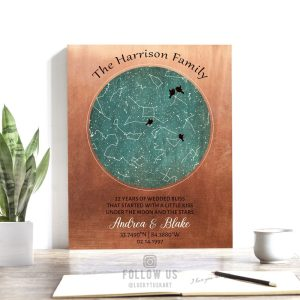 22 Year Anniversary Gift, Night Sky Print, Copper Anniversary, Personalized, Custom Star Map, Celestial Map, 7 Year Gift, Metal, Canvas 1749