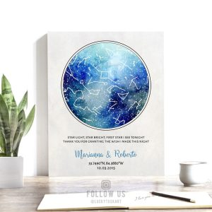 10 Year Anniversary Gift, Custom Sky Art, Personalized Gift, Star Map, Celestial, Watercolor, Night Sky Print on Tin, Canvas or Paper #1750