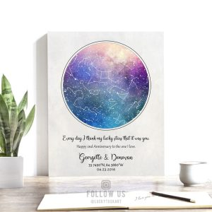2 Year Anniversary Gift, Personalized, Custom Star Map, Celestial, Watercolor, Night Sky Print, Cotton Canvas, Tin Sign, Paper Print #1751