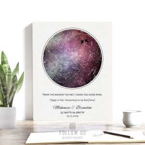 10 Year Anniversary Gift, Personalized, Custom Star Map, Celestial, Watercolor, Night Sky Print, Cotton Canvas, Tin Sign or Paper Print 1752
