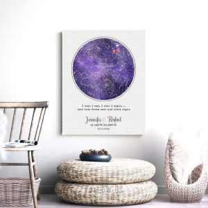 February Anniversary Gift, Personalized, Custom Star Map, Amethyst, Purple, Watercolor, Night Sky, Cotton Canvas, Tin Sign, Paper Print 1754