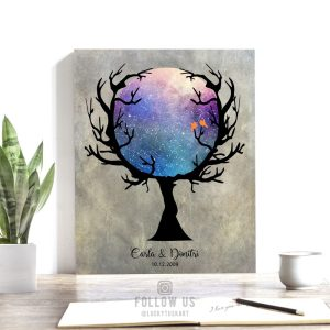 10 Year Anniversary, Personalized Gift, Custom Star Map, Bare Tree, Celestial, Wiccan Wedding, Halloween Anniversary, Night Sky Print #1756