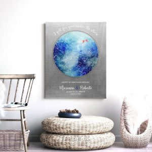 10 Year Anniversary, Custom Sky Art, Personalized Gift, Custom Star Map, Celestial Map, Tin, Night Sky Print on Tin, Canvas or Paper 1758