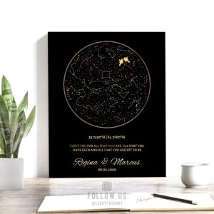 Black and Gold, Personalized Anniversary Gift, Minimalist, Custom Star Map, Celestial, Night Sky Print, Canvas, Tin Sign, Paper Print #1760
