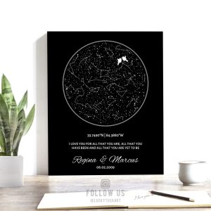 Black and White, Night Sky Print, Personalized Anniversary Gift, Minimalist, Custom Star Map, Celestial, Canvas, Tin Sign, Paper Print #1761