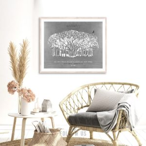 Where My Roots Belong Personalized Housewarming Gift Banyan Tree Entryway Wall Decor Gift For Her Custom Art Print Canvas, Metal, Paper 1808