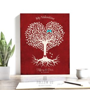Valentine Gift for Her, Personalized Anniversary Gift, Heart Shaped Tree, Valentine Gift for Him – Custom Metal, Canvas or Paper Print #1811