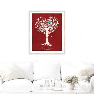 Valentine Gift for Her, Personalized Anniversary Gift, Heart Shaped Tree, Valentine Gift for Him – Custom Metal, Canvas or Paper Print #1812