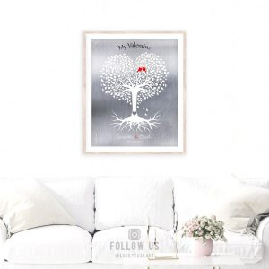 10 Year Anniversary, Valentine, Gift of Tin, Personalized, Heart Shaped Tree, Silver Anniversary – Custom Metal, Canvas or Paper Print #1813