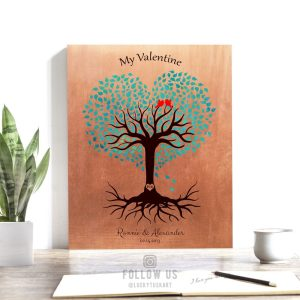 7 Year Anniversary, Valentine, Copper Anniversary, Personalized, Heart Shaped Tree, Turquoise – Custom Metal, Canvas or Paper Print #1814