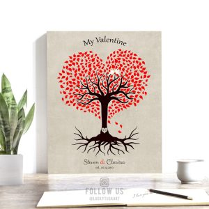 10 Year Anniversary Gift, Valentine, Tin Gift, Personalized, Heart Shaped Tree, 10th Anniversary – Custom Metal, Canvas or Paper Print #1815